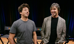 "Sergey Brin, left, and Larry Page, right, talking about the new Google Browser, ""Chrome,"" during a news conference at Google Inc. headquarters in Mountain View, Calif. (AP Photo/Paul Sakuma, file)"
